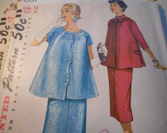 Vintage 1950's Simplicity 1551 MATERNITY Top and Skirt Sewing Pattern Size 16 or Size 18