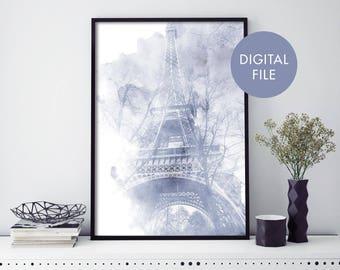 Eiffel Tower, Paris, France Watercolour Print Wall Art   Print At Home   Digital Download File