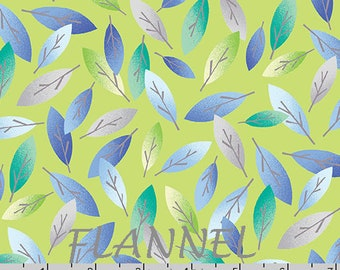 Eucalyptus Leaves Flannel Fabric, Blue , Green, Teal, Gray Leaf Quilt Flannel, Kanvas Studio Koala Baby Flannel CF 8682F 42, Cotton
