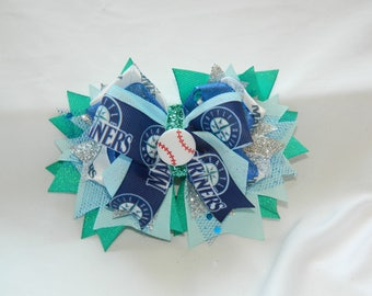 Seattle Mariners Baseball Super Stacked Cheer Bow Hair Bow