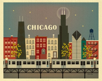 Chicago Skyline Art Print, Chicago Wall Art, Chicago Retro Poster, Chicago Brown Line Print, Horizontal City Art Print Gift, style E8-O-CHI5