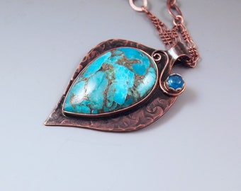 Turquoise and Apatite Pendant- Stunning Blue- Smoky Copper Patina- Metal Art- Boho Chic- Nature Inspired-  Turquoise Necklace