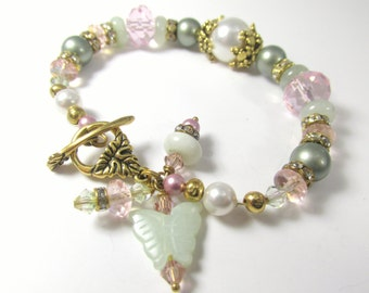Pale Green, Pink, White Swarovksi pearl & Jade Butterfly Charm and Rondelles on Gold  - Bridal or Everyday Bracelet