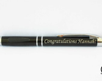 ONE Custom Engraved Ink Pen - Personalized Ball Point Pen with Silver Trim and Gripper - Graduation Gift, Business Gift, Office Gift