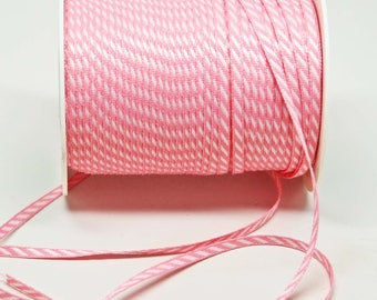 Solid Diagonal Stripe Ribbon -- 1/8 inch -- Petal Pink