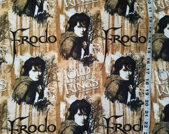 Flannel fabric Frodo Lord of the Rings LOTR cotton print quilt sewing material quilter craft project flannel Frodo fabric BTY by the yard