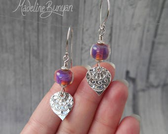 Silver and shimmering lampwork glass drop earrings Sterling Silver, Hot Pink, Purple, fine silver, textured, Indian, reversible