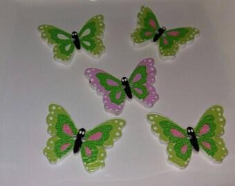 set of 5 Butterfly buttons green wooden