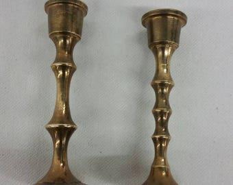 Miniature brass candlestick holders