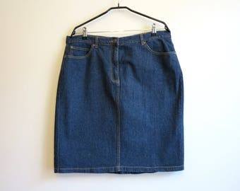 Navy Blue Skirt High Waisted Jean Skirt Denim Skirt Denim Pencil Skirt Extra Large Size Stretchy Jeans Skirt