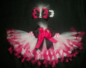 """Valentine's day tutu set, """"Feathers and Frills"""" pettitutu and hairbow custom made Newborn-4t"""