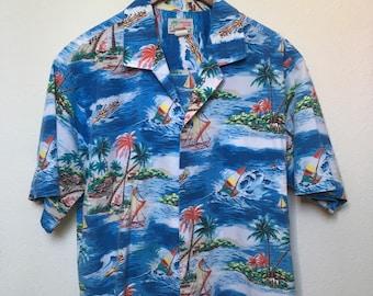Vintage blue Hawaiian shirt sailboat palm tree ocean tropical beach, 80s 1980s vtg, Aloha shirt, tiki oasis party luau, Evergreen Island, XL