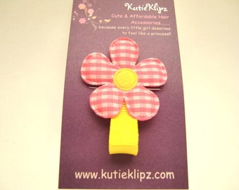 Classic SunshineYellow and Pink Gingham Flower Hair Clip....99Cents