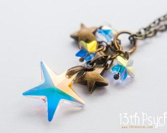 Swarovski stars pendant, crystal Star necklace, cute gift for women,  celestial jewelry, swarovski necklace, stars jewelry, bridesmaid gift