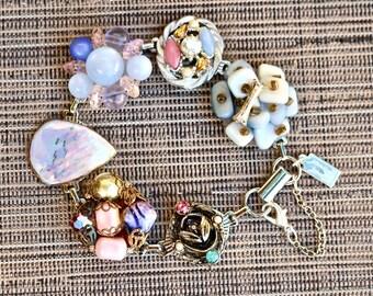 Upcycled Vintage Earring Bracelet, Gift for Her Bridesmaid, Cluster, Pink Blue, Multicolor Silver Rhinestone, Jennifer Jones OOAK Pastel Sky