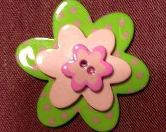 Stacked Button Ring with green buttons, pink buttons, flower shaped buttons