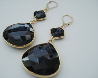 Black Dangle Earrings, Large Gemstone Drop Earrings, Chalcedony Earrings, Statement Jewelry