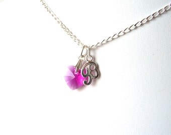 Initial Necklace Silver, Heart Necklace, Fuchsia Pink Necklace, Personalized Gift for Girlfriend, Gift for Teenage Girl, Sterling Silver
