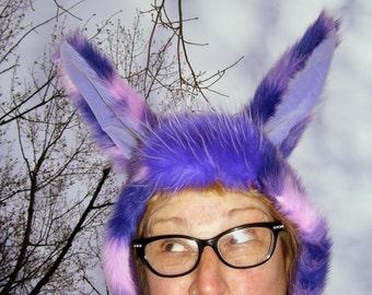 Fur Bunny Easter Hat Parade Furry Hood Helmet Huge Ears Purple Star Fuzzy Easter Easter Bunny OOAK Hood Costume Rabbit Adult Hat