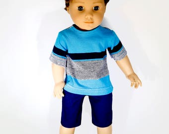 18 inch boy doll clothes, boy doll clothing made to fit like american girl doll clothes, turq/navy striped T-shirt and navy shorts