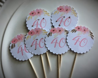 Birthday Cupcake Topper - Gold and Pink Floral