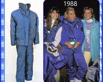 Retro 80's90's- 2 piece womens snow ski suit-Gaper day- irridescent blue- vintage size 12- made in the USA- retro ski party- snowboard
