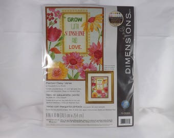 Painted Daisy Verse Counted Cross Stitch Kit - Dimensions