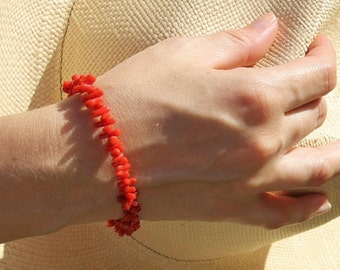 Red coral bracelet Corsica certifiė and 18 k gold