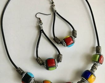 Tile Bead Leather Cord Jewelry Set