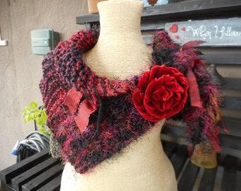 Hand knit Wrap     Hand Knit Cowl   Boho Cowl