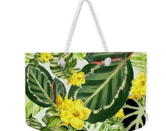 Beach bag, weekender tote bag, retro tropical, beach accessories, palm print, generous beach bag, large beach tote, tropical flowers