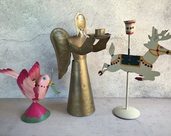 Set of three metal folk art candle holders, Christmas decorations, rustic candleholders, holiday lighting, bohemian Christmas decor
