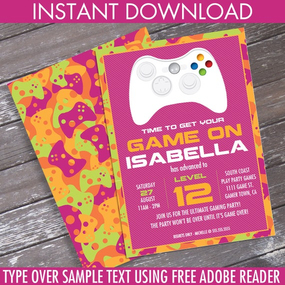Girl video game birthday party invitation pink camo you stopboris Images