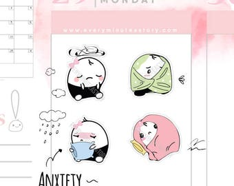 Beanie anxiety, depression, sad stickers, mambi the happy planner, erin condren, kikkik, filofax travellers notebook, bullet journal  S252