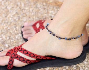 Simple Lapis lazuli Adjustable Anklet