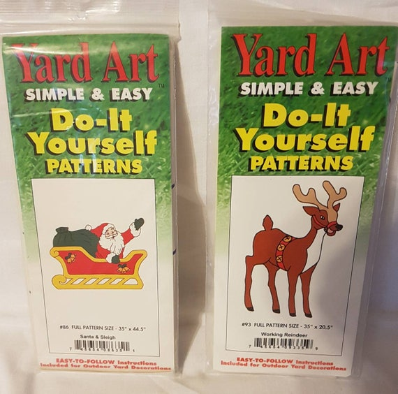 Yard art simple easy do it yourself patterns 86 santa and sleigh yard art simple easy do it yourself patterns 86 santa and sleigh and 93 working reindeer for outdoor plywood decorations new in package from kathleennco solutioingenieria Images