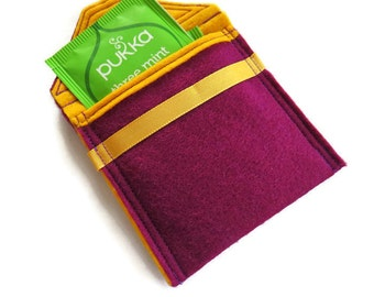Wallet - Purple Felt Tea Bag Holder - Travel Case for Tea Bags - Felt Tea Bag Pouch - Handbag Tea Bag Pouch - Teabag Wallet - Teabag Case