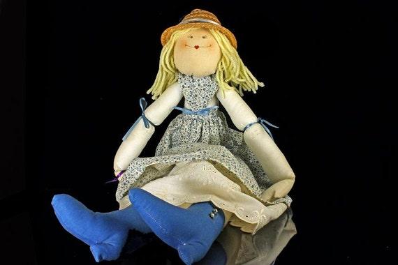 Handmade Doll,  Art Doll, Soft Body, Vintage, Prairie, Calico Dress