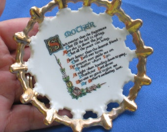 Vintage Mother Poem China Decorative Small Plate Gold Edged