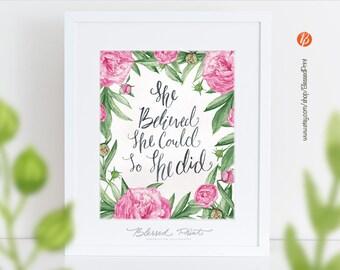 She Believed She Could So She Did - Printable wall art, Pink Nursery Print, Floral Nursery Art, Printable art wall decor