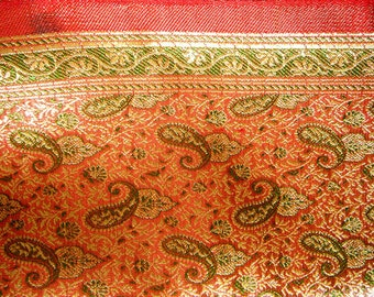 silk and gold exotic weave fabric, paisly design, indian, yardage, red vermillion olive gold, intricate pattern, altar cloth sunnydaydreams