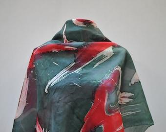Vintage HANDMADE silk scarf...(869)