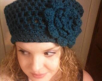Crochet Teal Flower Hat