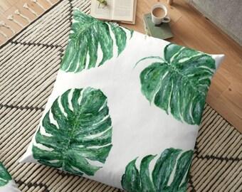 Palm Leaf Floor Pillow Cover, palm leaf pillow, leaf floor pillow, green floor pillow, monstera pillow, tropical leaf pillow