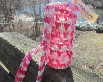 Crochet Cotton Water Bottle Holder Shades of Pink and White, 16.9 to 20 Ounce Water Bottle Carrier, Over the Shoulder Bottle Cozie, Gift
