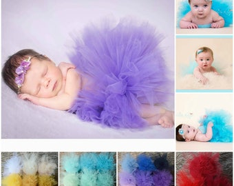 Easy Newborn Tutu/Baby Tulle Skirt/Baby Girl Photo Prop/Pink/Mint/Purple/White/Cream/Lilac/Blue/Yellow/Red/Green/Grey/Rainbow/UK seller