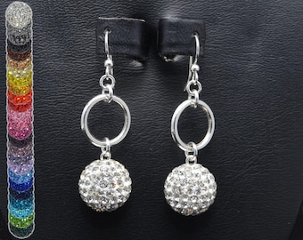 14mm White Clear Pave Crystal Rhinestone Disco Ball and Silver Circle Earrings