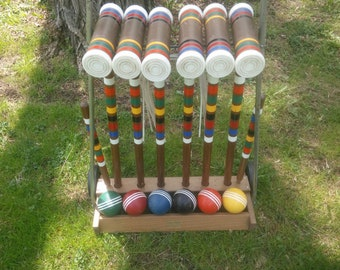 Vintage Forster Six Player Wood Croquet Set with Wood Wheeled Cart - Garden Croquet - Vintage Croquet Set - Croquet - Lawn Game