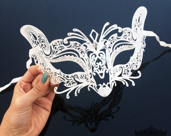 Masquerade Mask, White Masquerade Mask, Cat Mask, Cat Woman Mask, Masquerade Ball Masks, Mardi Gras Mask, Masquerade Mask  [Clear Gems]