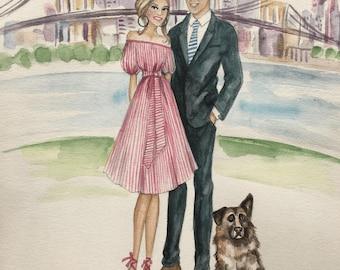 Custom Couple Portrait/ Custom Wedding Portrait / Custom Bridal Portrait/ Watercolor Portrait / Wedding Gift